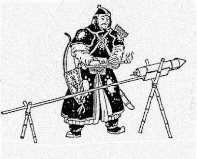 Soldado a punto de disparar un proyectil cargado de pólvora negra