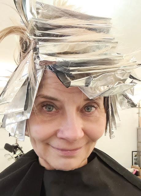 Hair in foils for Is This Mutton blogger Gail Hanlon