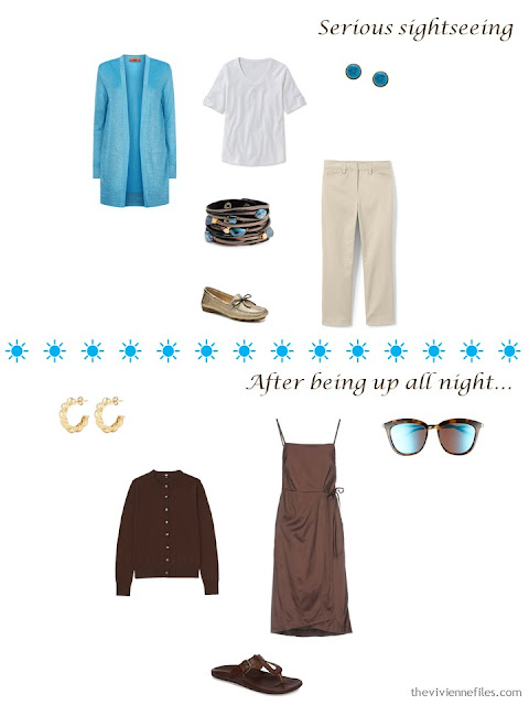2 outfits from a 4 by 4 Wardrobe in brown, beige, blue and white for a warm-weather vacation