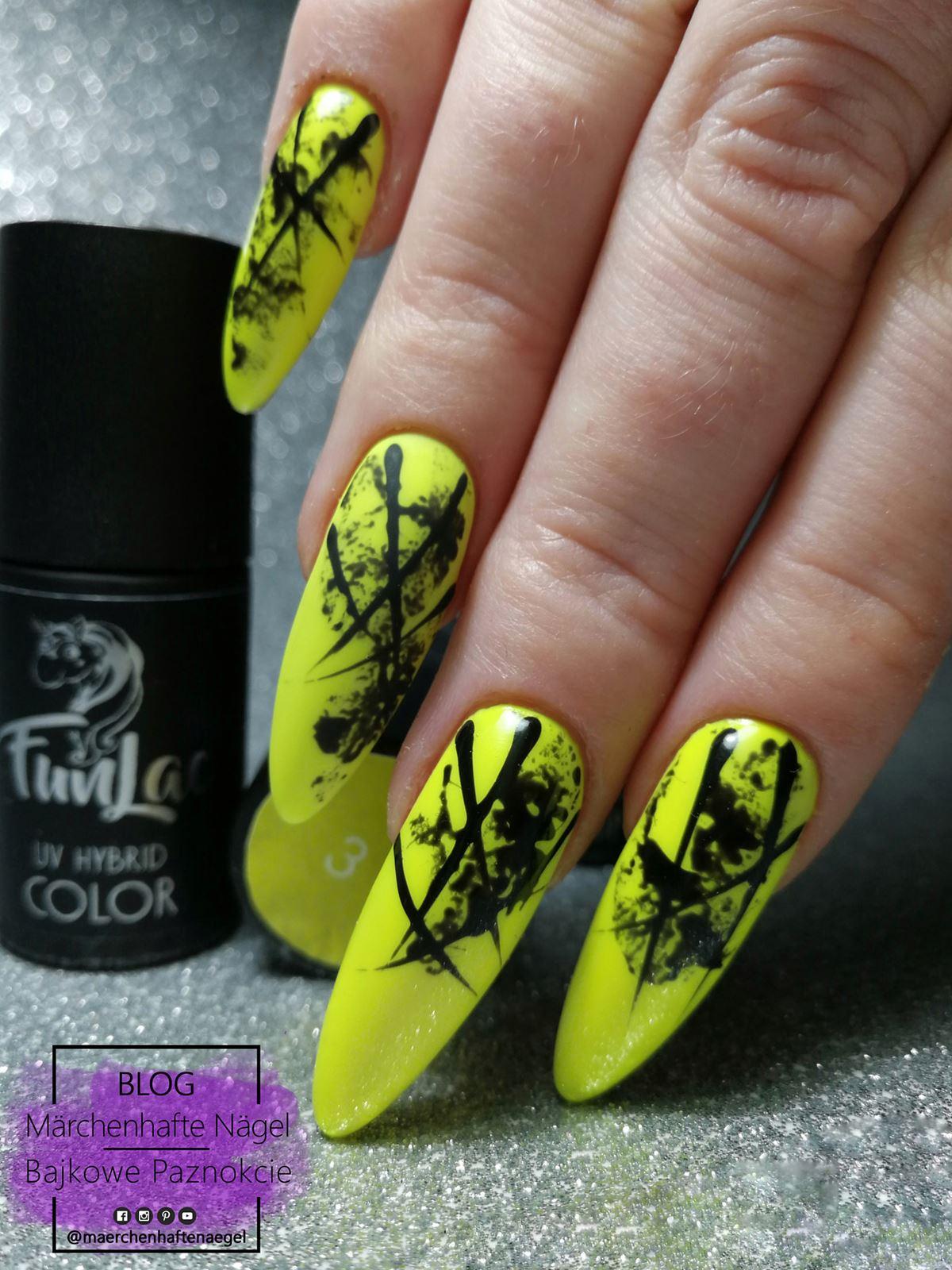 żółte neonowe paznokcie