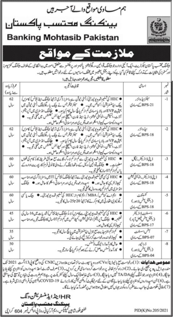 Banking Mohtasib Pakistan Jobs 2021