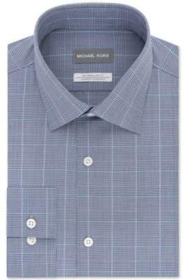 Men's Classic/Regular Fit Non-Iron Airsoft Stretch Performance Blue Check Dress Shirt