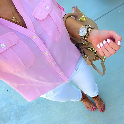 Express pink linen button down shirt, white distressed skinny jeans, nude strappy sandals