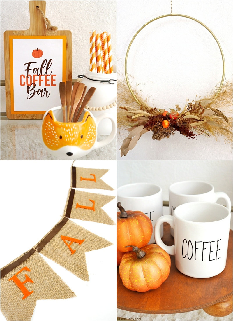 Fall Coffee Bar, DIY Farmhouse Decor and FREE Printables - easy craft projects to decorate for Fall, including free printable templates! by BirdsParty.com @birdsparty #fall #coffeebar #falldecor #diydecor #homedecor #fallcoffeebar #coffeestation