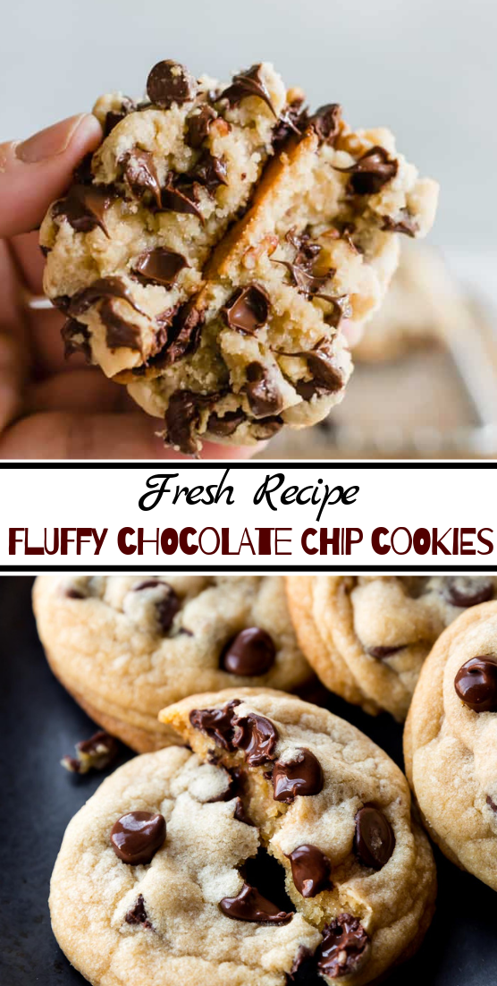 Fluffy Chocolate Chip Cookies #desserts #cakerecipe #chocolate #fingerfood #easy