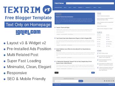 Textrim - Free Blogger Template Responsive V3 (Terbaru)