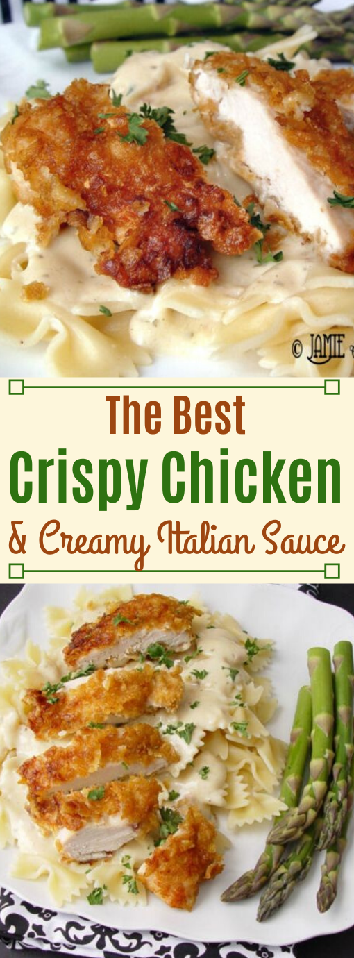 Crispy Chicken with Italian Sauce and Bowtie Noodles #noodle #sauce #soup #healthydinner #easy