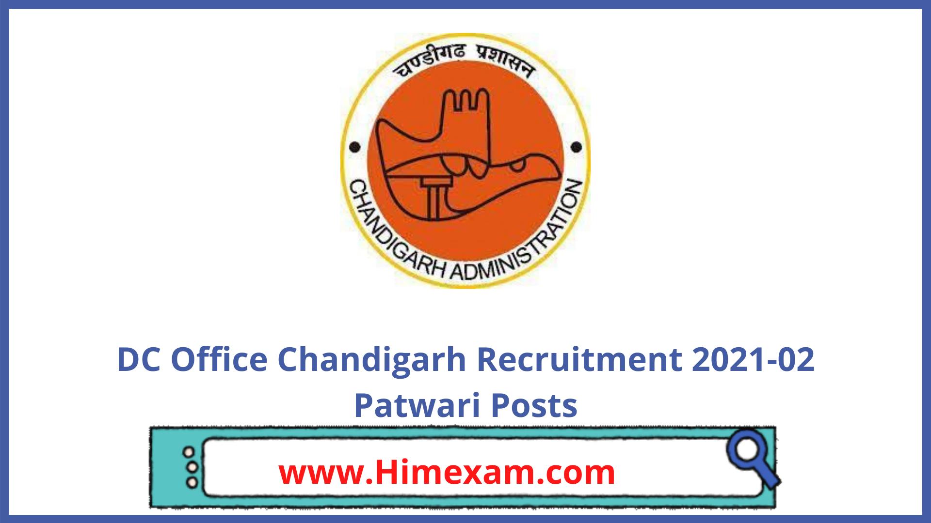 DC Office Chandigarh Recruitment 2021-02 Patwari Posts