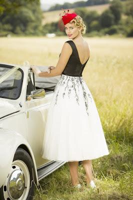 Black & white V neck wedding short gown dress back side