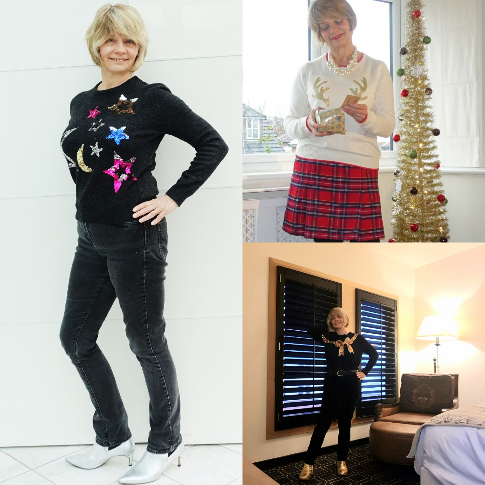Is This Mutton blogger Gail Hanlon in thre differenr festive jumpers for Christmas