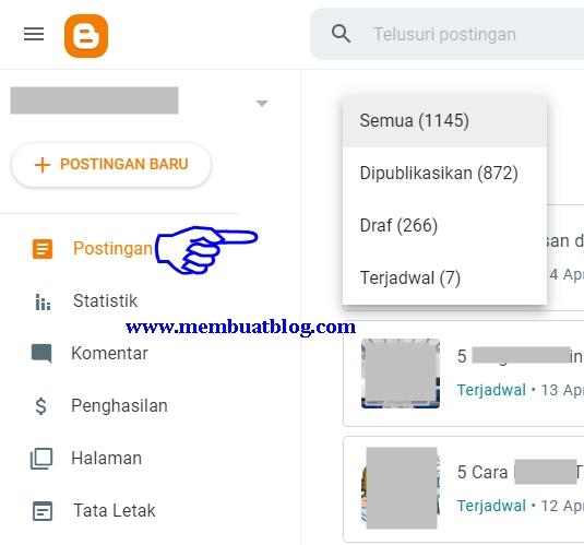 Contoh Tampilan Postingan pada Dasbor Blogger