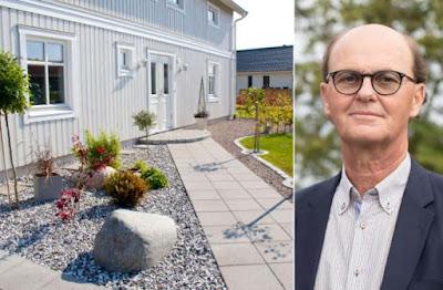 Kollage med stenläggningar utanför husfasad och porträttbild av Ove Bender