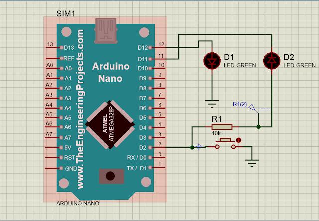 Push Button dan LED pada Arduino Nano menggunakan Proteus | Arduino