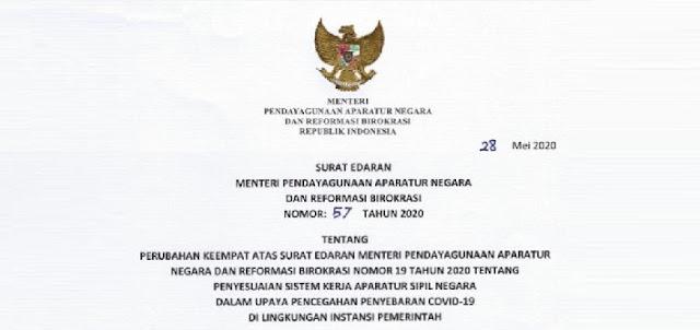 Menteri Pendayagunaan Aparatur Negara dan Reformasi Birokrasi  SE MENPAN NOMOR 57 TAHUN 2020 WFH BAGI PNS/ASN SAMPAI 4 JUNI 2020