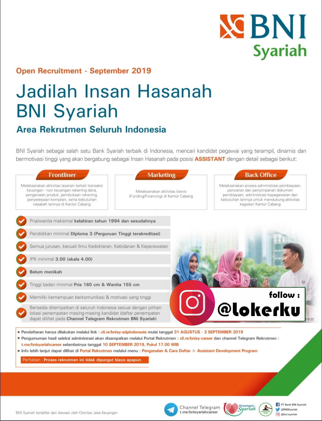 Rekrutmen Frontliner Marketing Back Office Di Bni Syariah Kudus Semarang Lowongan Kerja Kudus Terbaru 2021