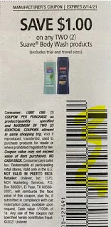 """$1.00/2 Suave Body Wash Coupon from """"USS"""" insert week of 8/1/21."""