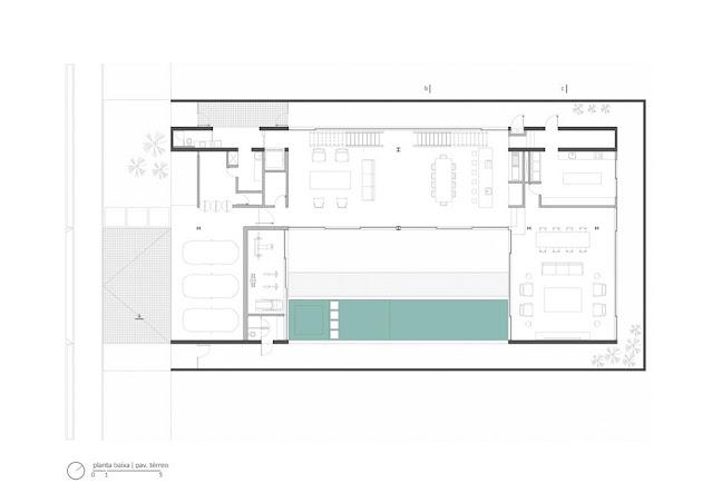 Projeto Casa Ribas criado pelo Estúdio MRGB - Planta Baixo do Pavimento Térrero