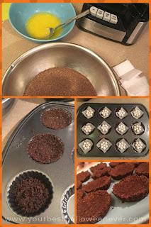 chocolate graham cracker crust being made