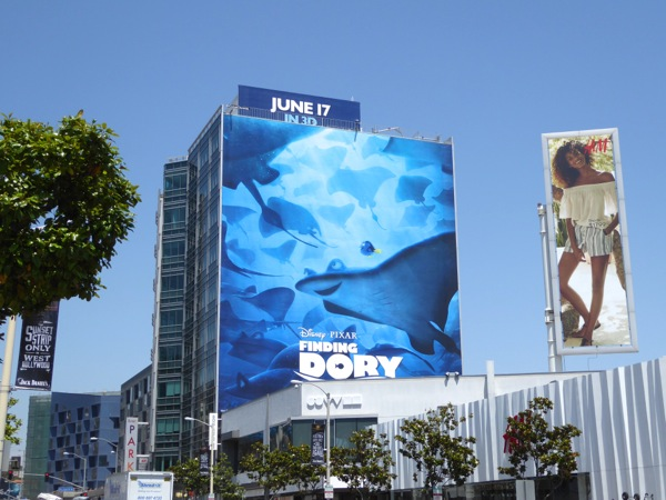 Giant Finding Dory movie billboard Sunset Strip