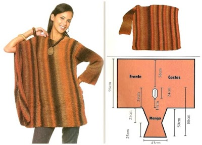 Poncho capa recta de una manga tricot