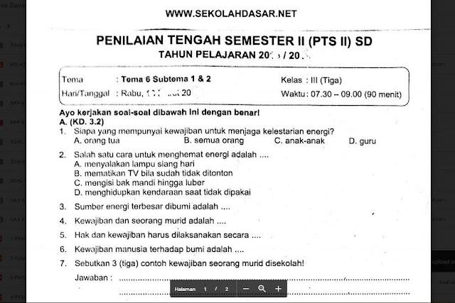 Soal Ulangan Kelas 3 Tema 6 Subtema 1 dan 2