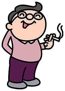 眼鏡を掛け丸味を帯びた体でタバコを吸っている男のイラスト