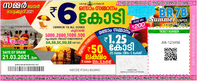 Kerala Bumper SUMMER BUMPER 2021 BR-78