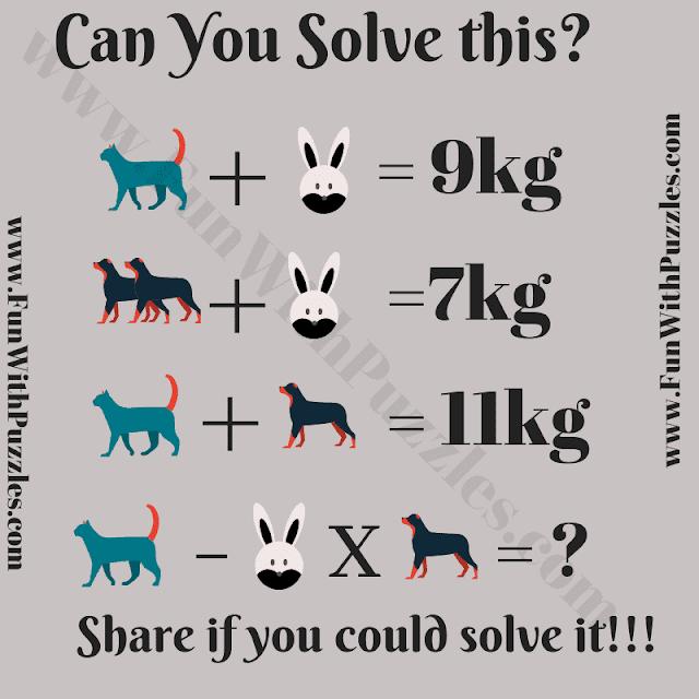 Can you Solve this? C + R = 9Kg, 2D + R = 7Kg, C+D = 11Kg, C - R x D = ?