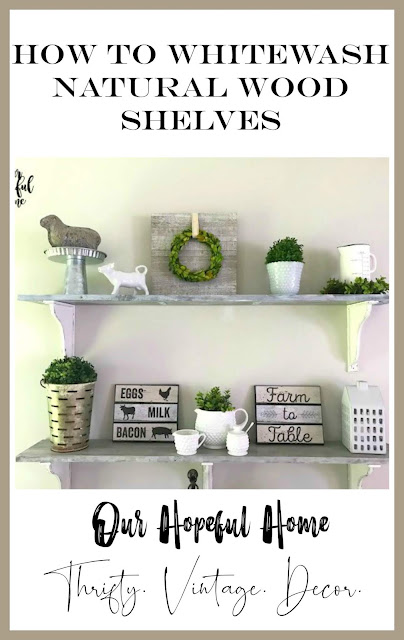DIY dining room farmhouse shelves white wash