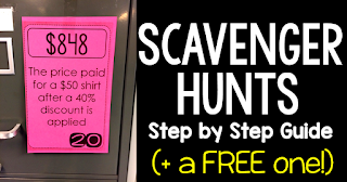 In this post is a step by step guide to math scavenger hunts and a free printable pdf scavenger hunts that covers percents. Students love how hand-on scavenger hunts are! These fun activities get students out of their seats and moving around the classroom. You dan download the free percent scavenger hunt math activity from the link to my dropbox (towards the bottom of the post).