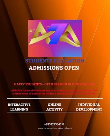 Abdullah Tutors Academy offering Home Tuition for Pak Studies in Gulberg Town, Samanabad, Karachi