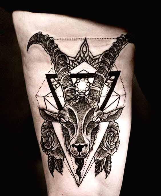 Geometrical style Capricorn tattoo designs with two roses