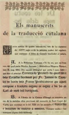 Introducción (1) de Josep Massó del libro De les costums dels homes i oficis dels noble traducido por Brunet