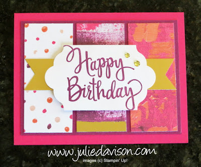 Stampin' Up! Stylized Birthday Card with Painted with Love DSP Panels ~ great card layout ~ www.juliedavison.com