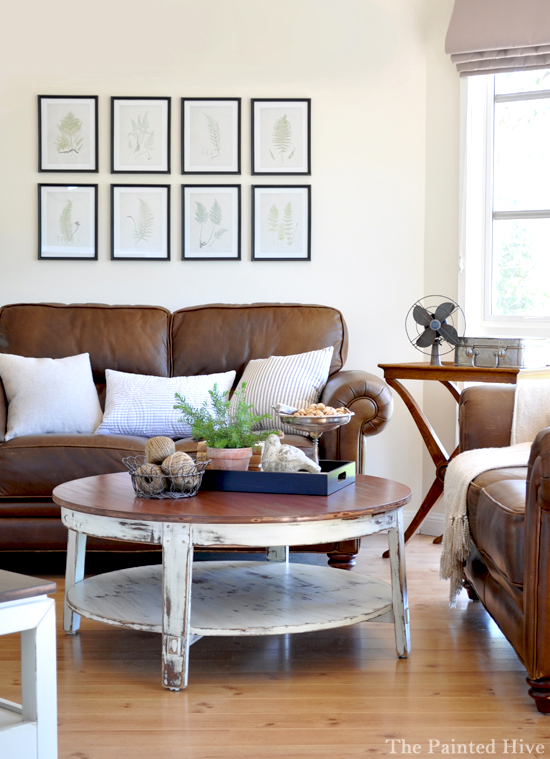 Brown Leather Couches Living Room Decor Red Accents: Living Room Update