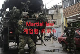 Martial law [마셜 로] 뜻 : 계엄령 (戒嚴令)
