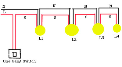 single switch multiple lights one light two switches wiring diagrams efcaviation com wiring diagram 4 lights 1 switch at gsmx.co
