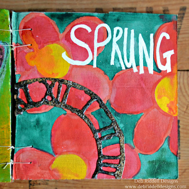 Spring Corrugated Cardboard Art Journal Detail