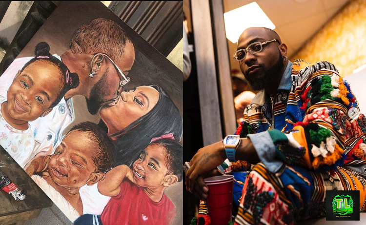 davido-shares-new-portrait-of-his-family-given-to-him-by-an-adoring-fan-see-photos