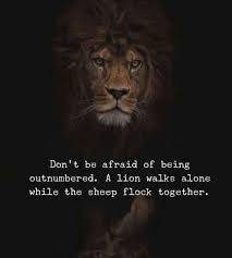 Stands for yourself as a lion