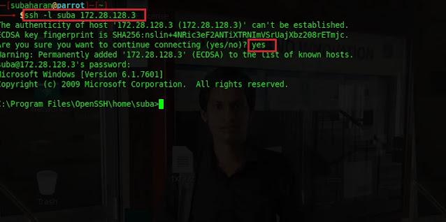 access the target host via ssh