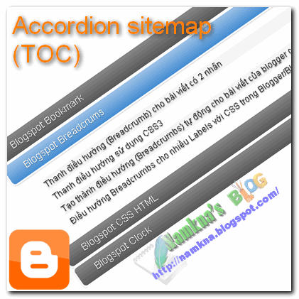 accordion sitemap TOC for blogger style1