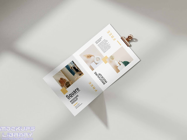 folded square brochure mockup