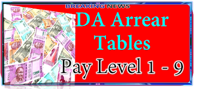 DA Arrears Tables Pay Levels 1 to 9