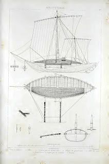 Admiral Paris's drawing of a yathra dhoni