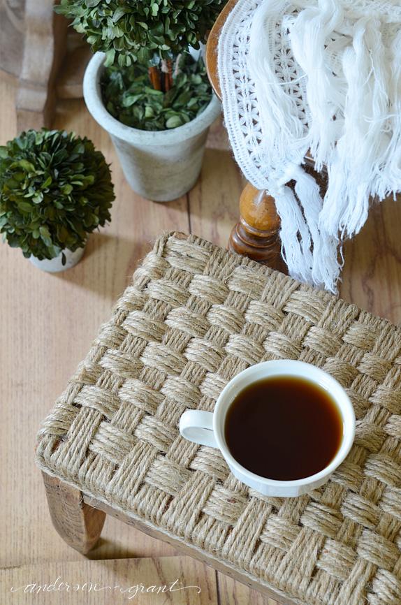Weave sisal for upholstered footstool