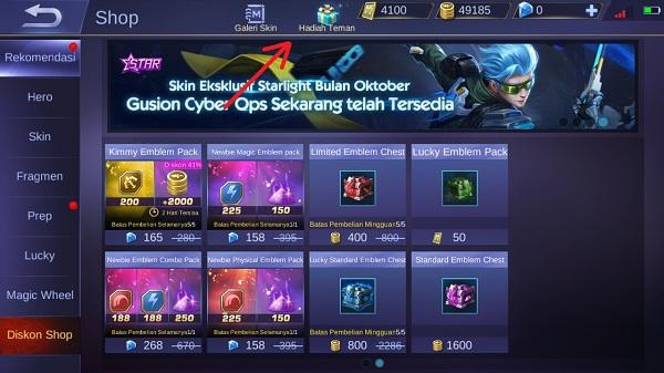 Cara Gift / Mengirim Skin ke Teman di Mobile Legends