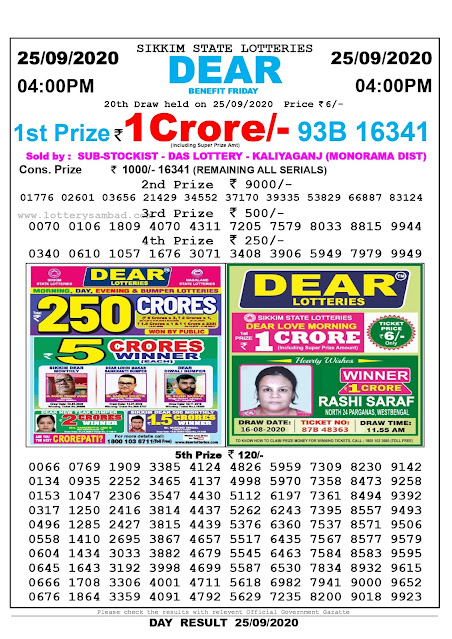 Lottery Sambad Result 25.09.2020 Dear Benefit Friday 4:00 pm