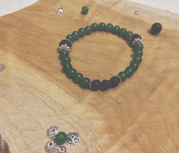 Bracelet pierres de lave et perles d'aventurine My Roller Stone