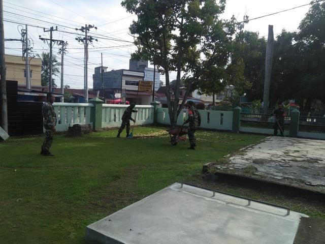 Untuk Menjaga Keindahan Pangkalan, Personel Jajaran Kodim 0207/Simalungun Laksanakan Korve